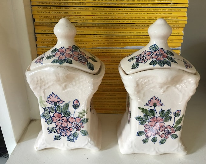 Delft Canister Set Two Matching Ceramic Jars with Lids Pink and Green Flowers Rare Find Ornate Vintage Set