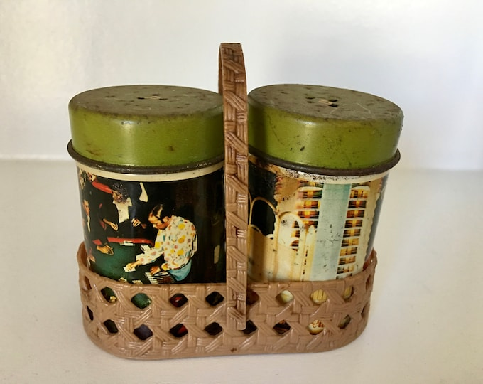 1960's Era Tin Las Vegas Collectible Salt and Pepper Shakers Plastic Woven Basket Holder Roulette Craps Picture Casino Scene