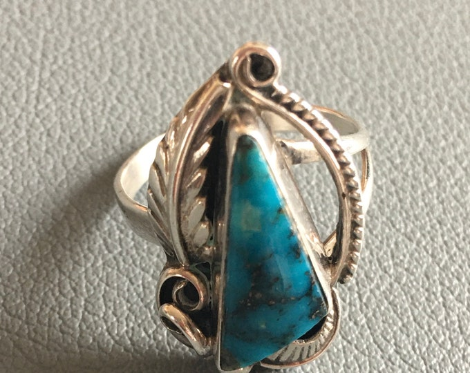 Navajo Deep Blue Turquoise and Sterling Ring Size 6.5 Native American Hand Crafted Tear Drop Feather Detail Signed MB