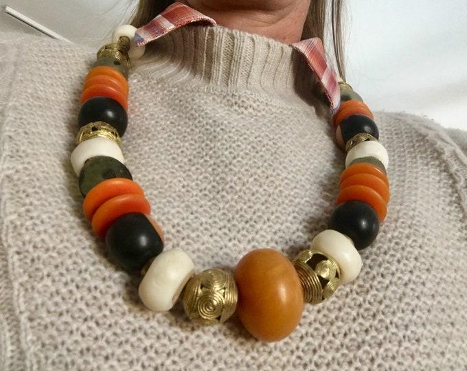 Huge Bead African Necklace Honey Amber Ebony Brass Filigree Sea Glass Horn Discs Orange Creme Black Boho Ethnic Tribal Style