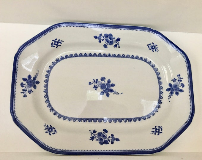 Vintage Copeland Spode England New Stone China Serving Platter Earthenware Blue and White Serving Dish Flowers Blue Rim Octagonal Plate