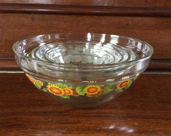 5 Flower Dute Vintage Glass Nesting Bowls Set of 5 Custard Bowls Sunflowers Pattern Design New/Old StockCooking Bowls Orange Yellow Green