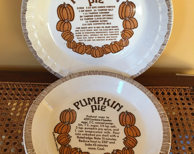"Matching Vintage Pumpkin Pie Recipe Ceramic Plates Deep Dish Crimped Edge Orange Brown and White 11"" and 10"" Royal China Country Harvest"