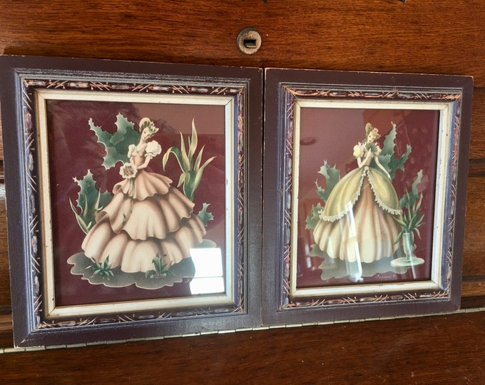 Matching Set of Vintage Turner Antebellum Ladies Prints Southern Belles Maroon Wood Frames Green Maroon Yellow Pink Cream Colors