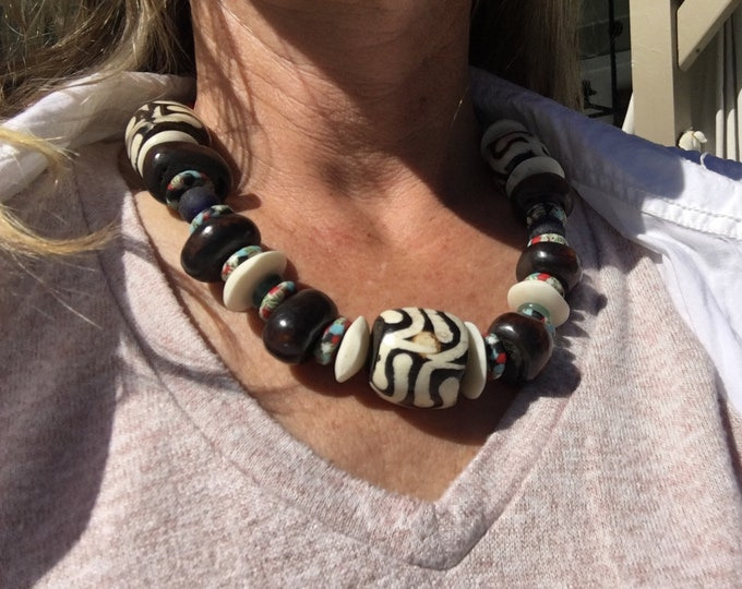 "African Geometric Bead and Exotic Wood Blue and Turquoise Recycled Glass Silver Bone Bead Turquoise Leather Adjustable Cord 22"" Necklace"