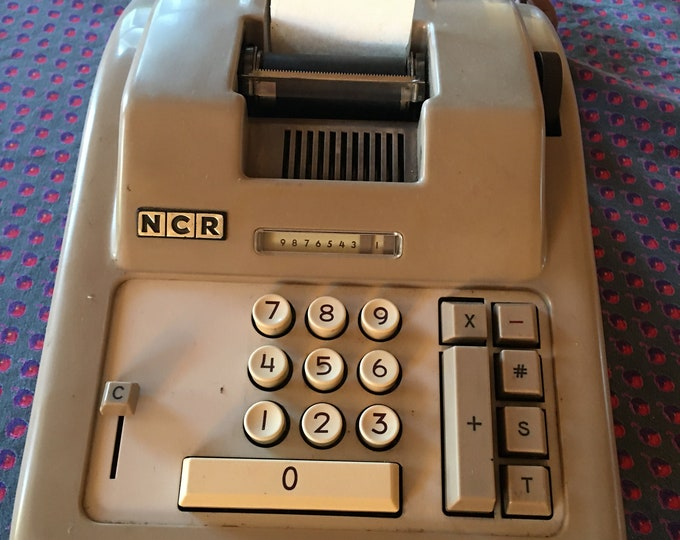 Vintage Electric NEC Brand Adding Machine. Long Cord Tan Metal Shell Mid Century 1950's Office Machine Felt Bottom Paper Tape
