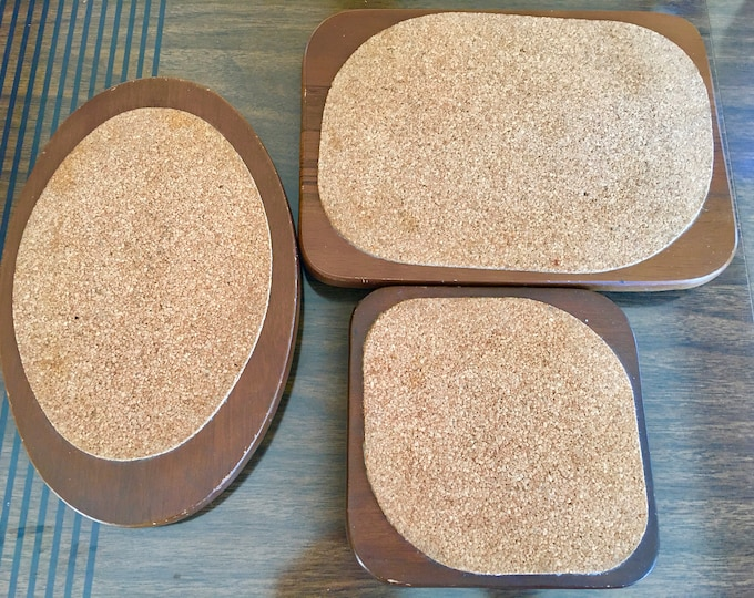 Teak and Cork Set of 3 Hellerware Trivets Vintage 1960's Made in Japan Oval Square Rectangle Wood and Cork Footed Hot Plate Matching Set