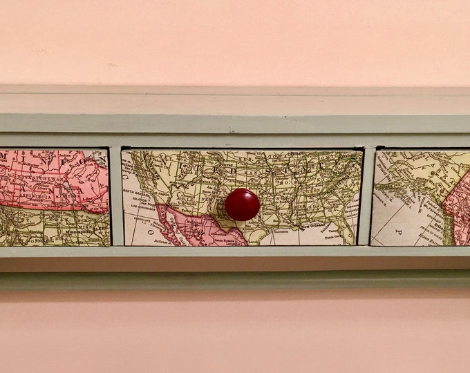 1970's Hand Painted Wood Hand Towel Holder with 3 Drawers Burgandy Knobs Sea Green Body World Map Decoupage Bathroom Towel Holder