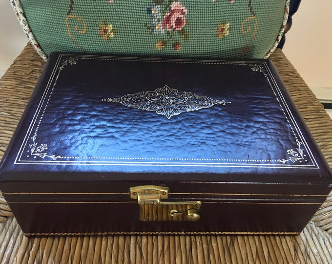 1960's Leather Jewelry Box Gold Embossed Vintage Mens or Womens Rich Dark Brown Red Velvet Lining