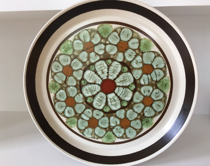 "Vintage Mikasa Studio Kraft ""Bahia"" 7928 Ceramic Dinner Plate Chop Plate Brown Rim Orange Aqua Green Red Center"