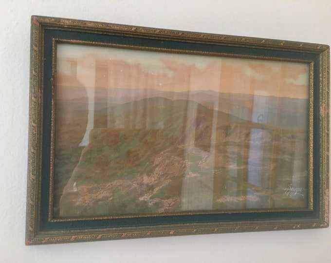 Signed Charles Sawyer Vintage Print Green Mountains Dark Green and Gold Frame Mid Century Print Mountain Painting