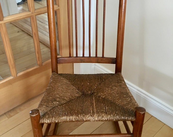 Antique Spindle Back Rocking Chair Original Rush Seat Hand Crafted Solid Wood Double Rungs 19th Century Low Rocker