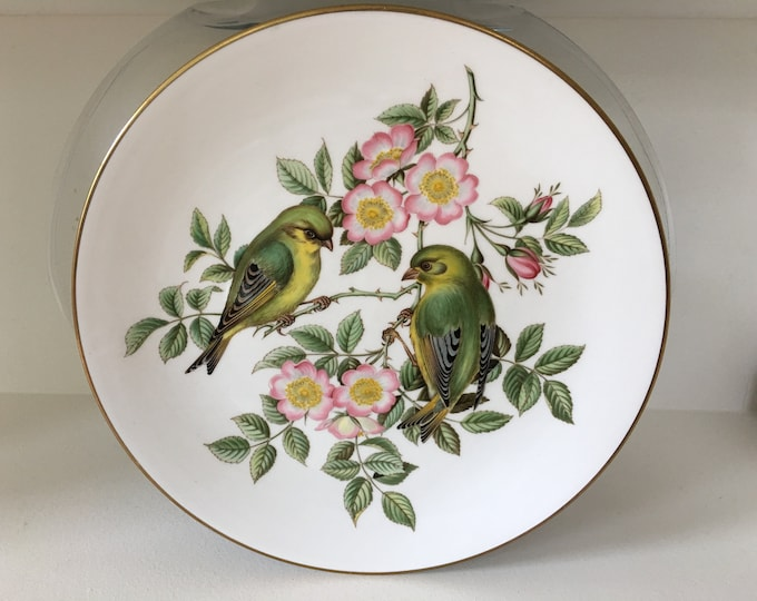 "Vintage Spode England  Porcelain ""Green Finches"" Garden Birds Decorative Plate Deep Greens and Pink Roses"