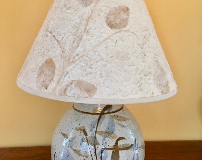 1970's Rustic Pottery Lamp Hand Painted Speckle Pottery Browns and Blues Pressed Leaf Lampshade Round Base Table Lamp