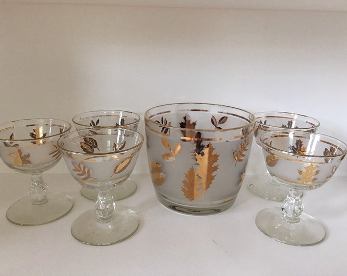 Libby Glass Fall Foliage Ice Bucket 23K with 6 Coupe Glasses Gold Leaves Vintage Glass 1960's MCM Bar Ware Set Champagne Cocktail Glasses