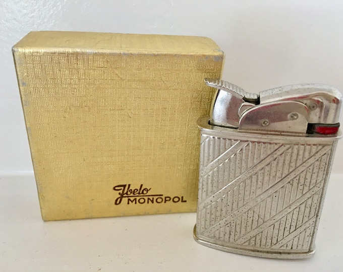 1960's Mid Century Ibelo Chrome Lighter Original Gold Box/Germany and Red Velvet Bag Art Deco Styling Vintage Lighter Made in USA by Evans