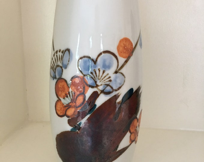 Vintage Action Lobeco Japanese Vase Asian Flowers Orange Blue and Brown Motif Hand Crafted in Japan Medium Size Cylinder Shape