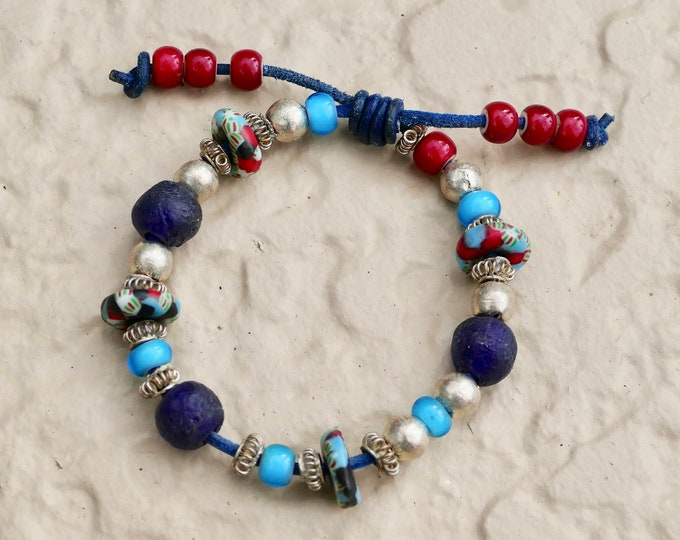 Blue Jeans Bracelet Red White and Blue Recycled Glass Silver Beads Turquoise Leather Cord Adjustable White Heart Trade Beads
