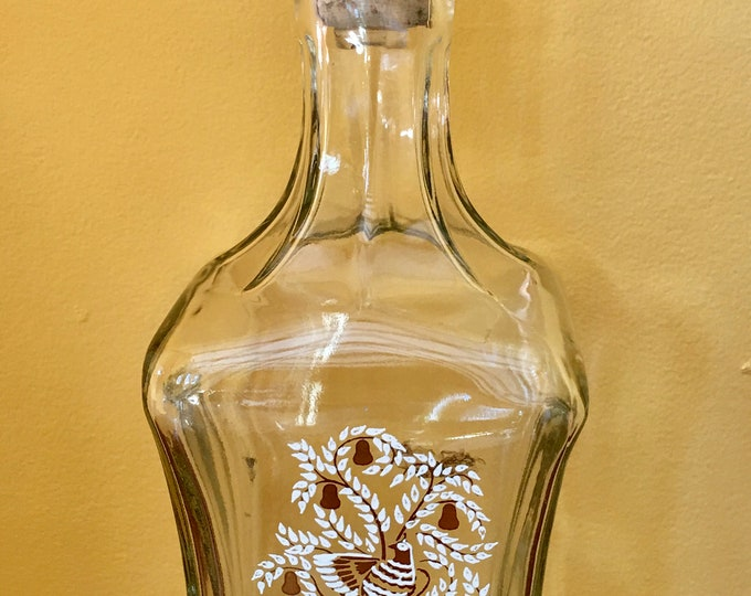 Old Fitzgerald Collection Liquor Bottle Decanter Vintage Glass Gold and White Partridge Pear Tree Cork and Glass Topper Whiskey Decanter