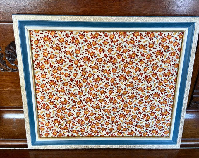 Kitchen Office Cork Board Orange Gold Yellow Paisley Fabric 100% Cotton Wood Frame Turkish Blue White and Gold Carved Flower Detailing Wall