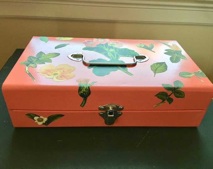 Vintage Metal Cash or Storage Box Hand Painted Coral Color Silver Handle Silver Locking Latch Flower Decals Pink Flowers DeCoupe Interior