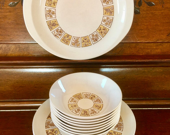1950's Stetson Creations Dinner Ware Set Dinner Plates Salad Soup Bowls Dessert Plates Yellow Brown Cream Grapes Flowers Squares Underglaze
