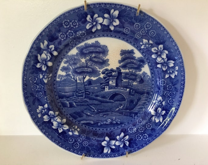 Antique Copeland Blue and White China Dessert or Salad Plate Spode's Tower England Old Mark Wall Hanger Included