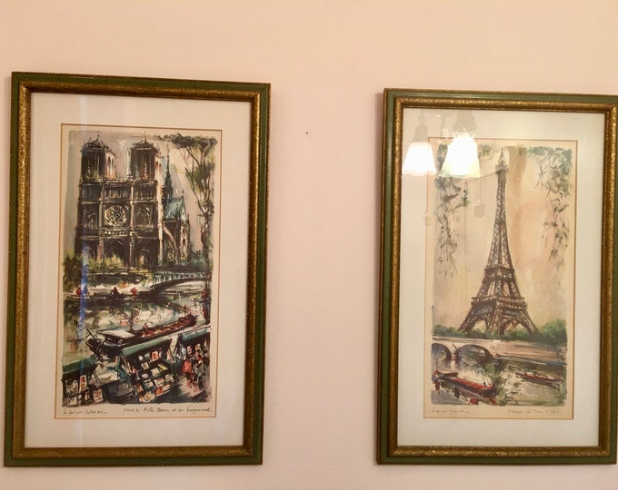 Set of Vintage 1950's Signed Marius Girard Lithograph Prints Paris  France Notre Dame Eiffel Tower Wood Frames with Glass Tourist Art