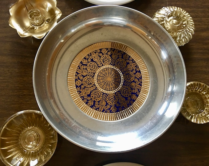 Vintage Buenilum Aluminum 12 Inch Serving Bowl MCM Enameled Blue Gold and White Retro Pattern Large Deep Tray Made in USA Centerpiece
