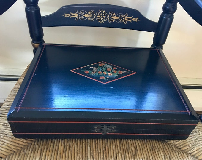 Art Deco Vintage Silverware Wood Storage Box Black Lacquer with Orange and Red Flowers Diamond Shape Locking Box 1930's