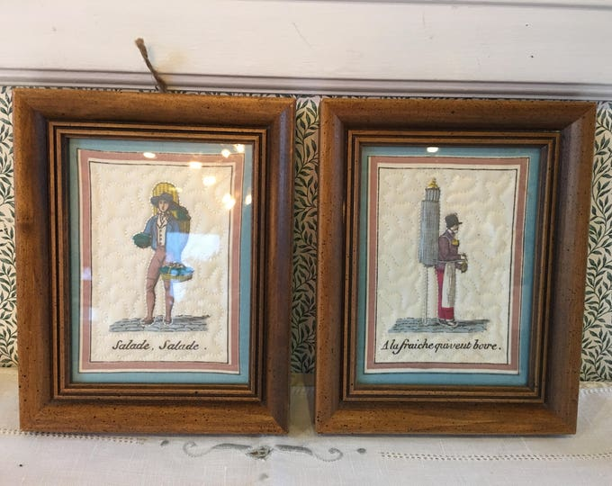 Vintage Trapunto Wall Pictures Set of Two Salad Fresh Can Drink French Language Quilted Mini Quilt Blue Trim Embroidery Wood Frames Glass