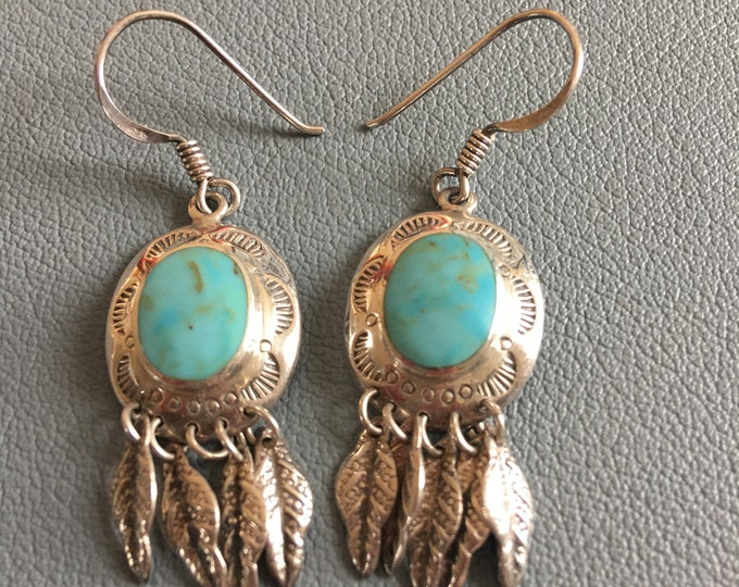 Sky Blue Native American Turquoise and Sterling Silver Drop Earrings Feather Dangle Pair Signed Goma  6 Grams Vintage Earrings Round Stone
