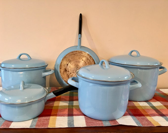 1950's Era Blue Enamelware Pots Lids Sauce Pan Frying Pan White Interior Black Handle Roto Pot Robins Egg Blue Enamel Cookware Double Handle