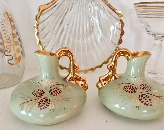 Pair of Delicate Vintage Vases Pitcher Vase Hand Painted Pinecones Light Green Brown Red Tiny Handle Vase Gold Interior Bureau Vase Set