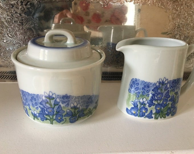 Otagiri Porcelain Creamer and Sugar Bowl Lupine Flowers Purple Blue White and Green Vintage Ceramic Set Lid Blue Trim Original Stickers