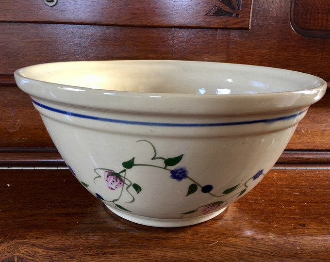 Vintage Roseville Ohio Alpine Pottery 1999 Ceramic Mixing Bowl Extra Large Matching Dog Dish Serving Bowl Tan with Flower Vine Blue Trim