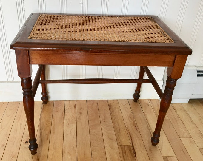 Antique Cane Bench Seat Table Turned Legs Solid Pine Hand Caned Chair Cross Hatch Rectangular Stool Hallway Bench