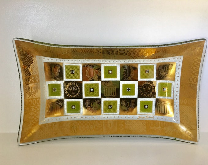 1960's Georges Briard Golden Celeste Bent Glass Tray Rectangular Serving Plate Cocktail Snacks Bar Tray Green and Gold Signed MCM