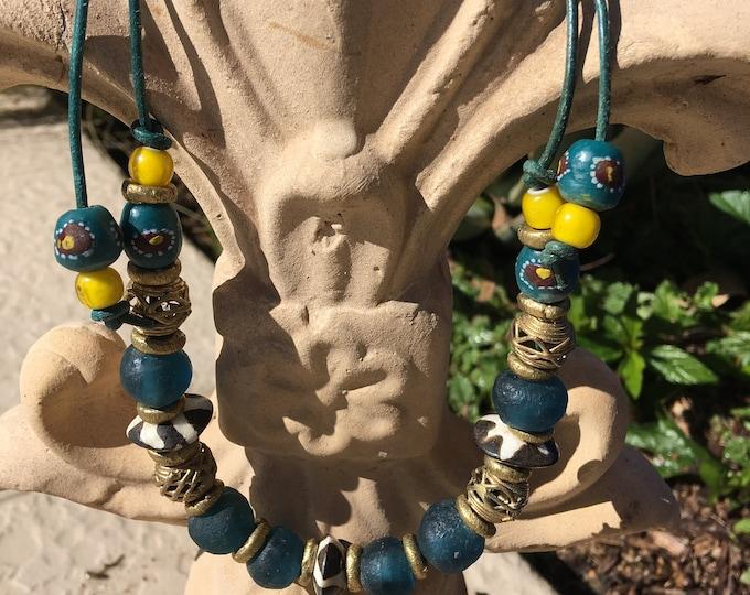 "Teal Green Sunshine Yellow Necklace Boho Look Tribal Ethnic African Recycled ""Sea"" Glass Brass Filigree Batik Bone Adjustable Leather Cord"