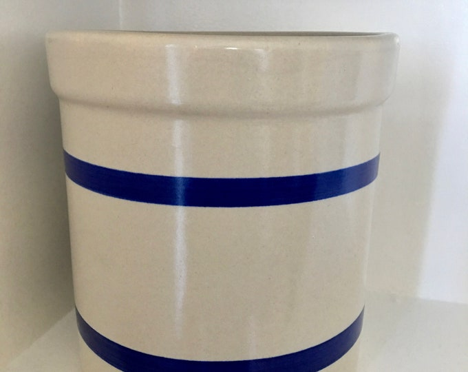 Roseville Ohio USA RRP 2 Quart High Jar Ceramic Canister 2 Blue Stripes on Cream Background Vintage Storage Container Stoneware Pot