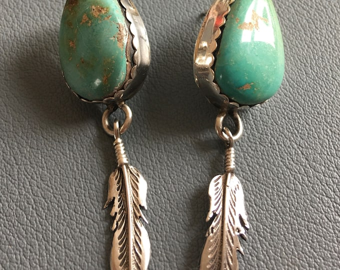 """Turquoise and Sterling Louse Yazzie Navajo Earrings 1"""" Stones Silver Feathers Vintage Native American Hand Crafted Green Turquoise 12 grams"""