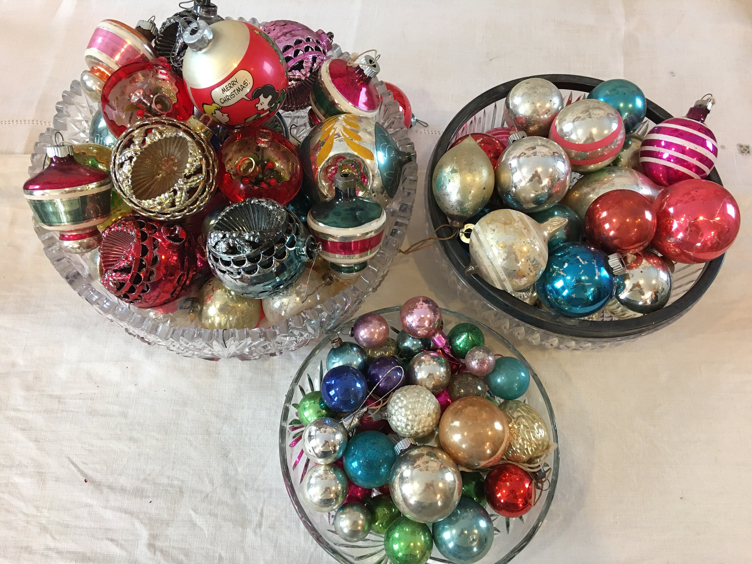 huge collection of mercury glass vintage plastic christmas tree ornaments 1950 mid century crackle glass bells 103 ornaments small med large - Large Plastic Christmas Decorations