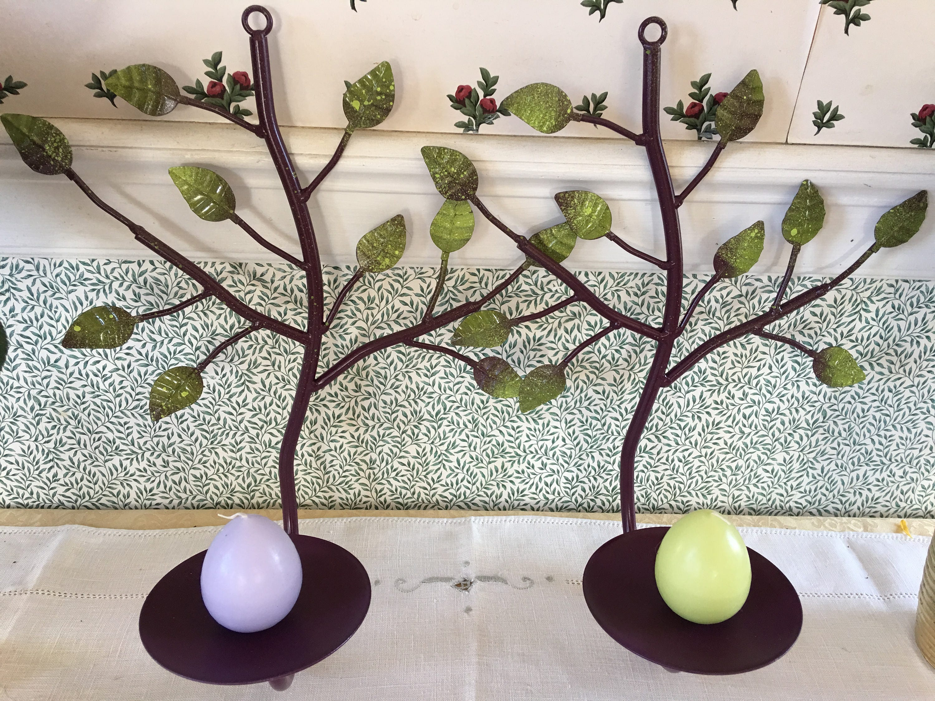 Large Pair Augergine Painted Wrought Iron Candle Wall Sconces Branch And Green Leaves Purple Votive Pillar Candle Wax Candle Holder
