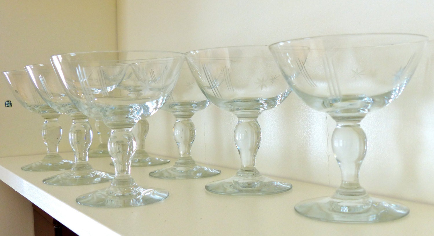 Crystal Champagne Glasses Etched Art Deco Set Of 7 1930 S Era Bulb Stems Clear Glass Stars Stripes Sorbet Coupe Glass