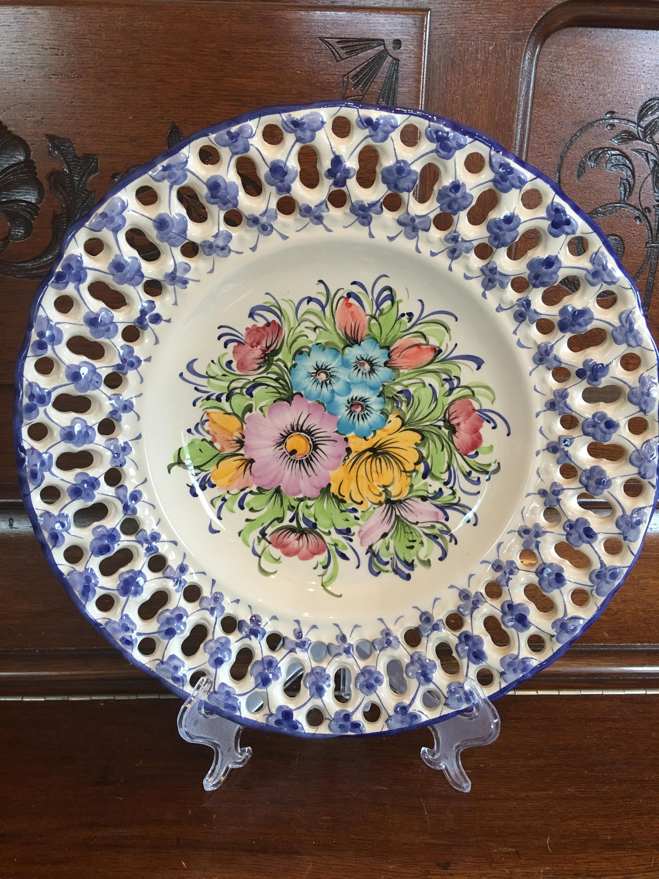 vintage hand painted wall hanging porcelain plate portugal blue