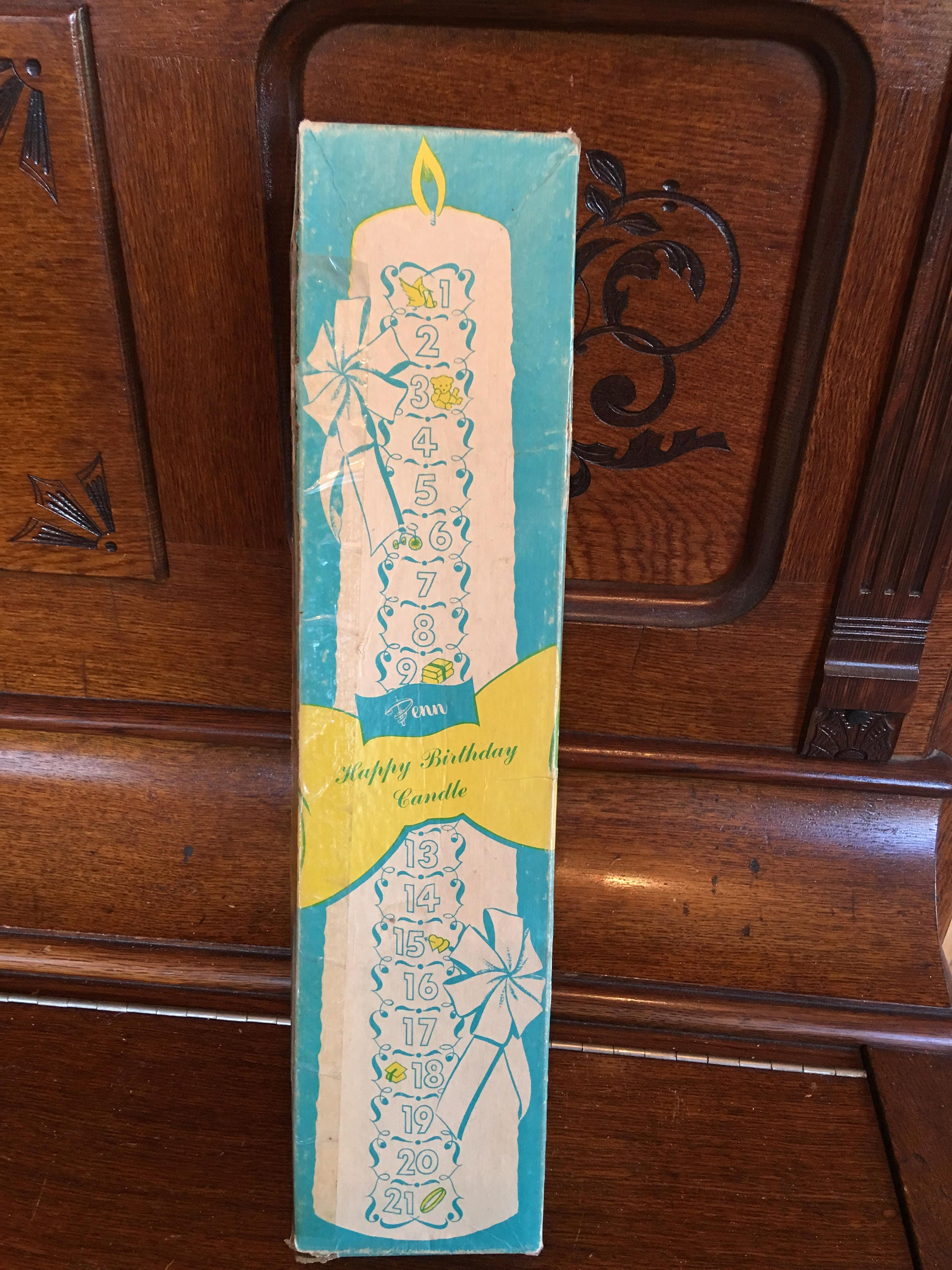 1950 Mid Century Girls Happy Birthday Candle 21 Year Wax Pillar Through The Ages Original Box