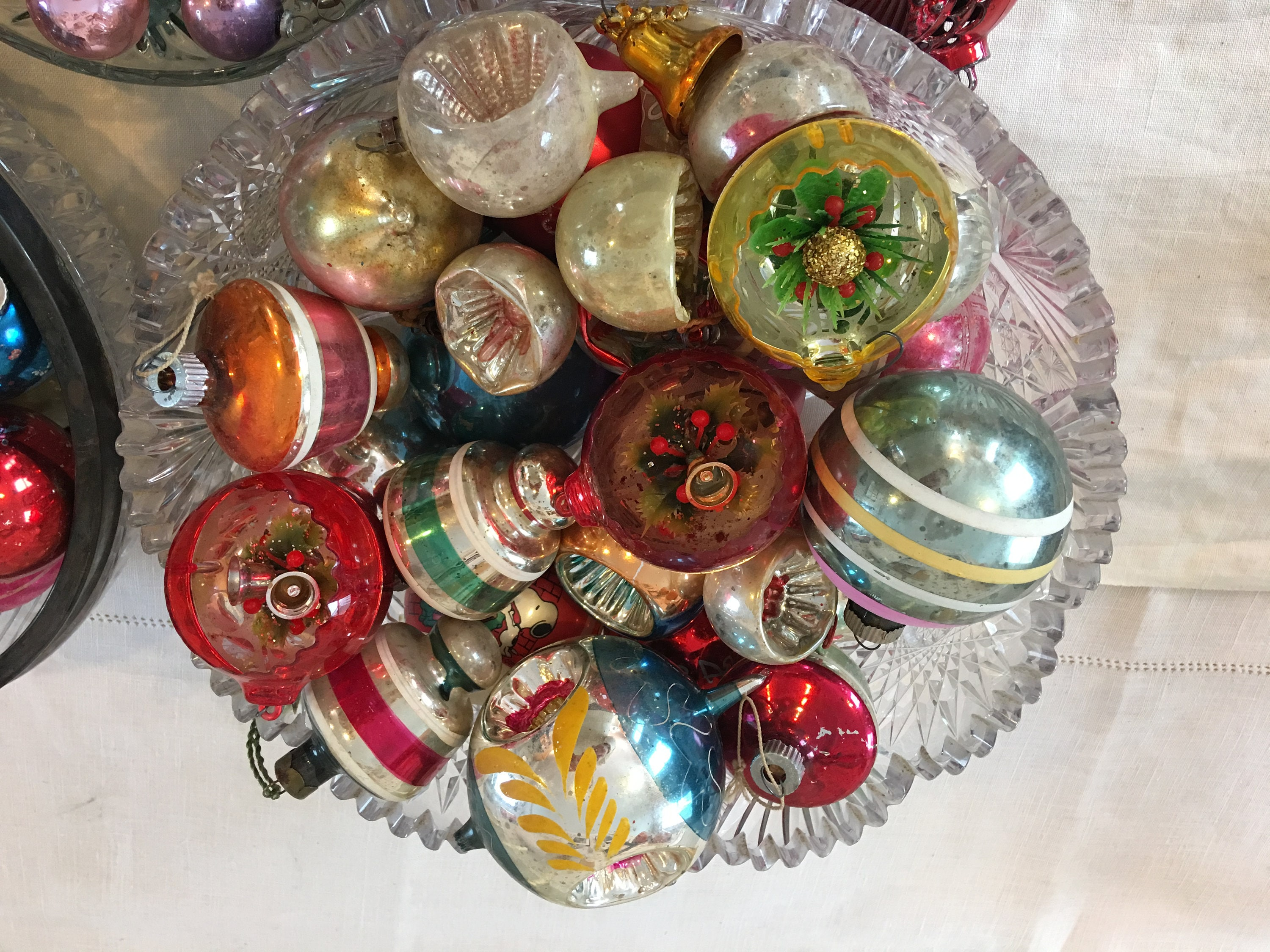 huge collection of mercury glass vintage plastic christmas tree ornaments 1950 mid century crackle glass bells 103 ornaments small med large