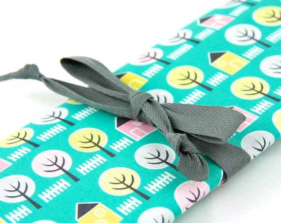 Knitting Needle Case, House Garden, 30 gray pockets for circular, straight, dpn,, Needle Storage, Knitting Needle Organizer