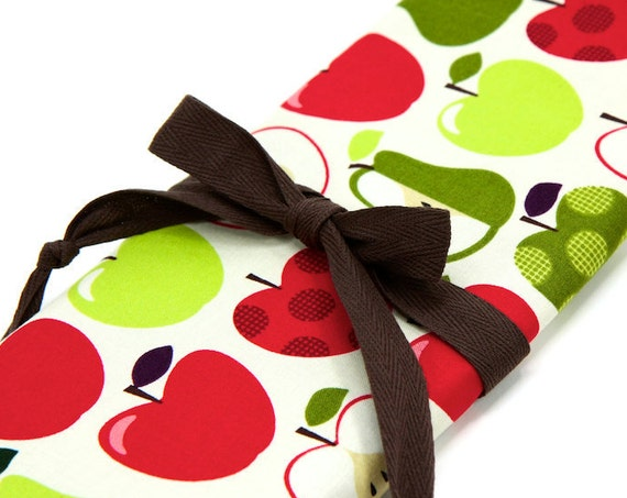 Knitting Needle Case, Apples 2 Apples, brown pockets for circular, straight, dpn,, Needle Storage, Knitting Needle Organizer