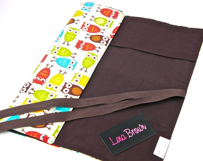 Featured listing image: Knitting Needle Case Urban Owls  30 brown pockets for storage